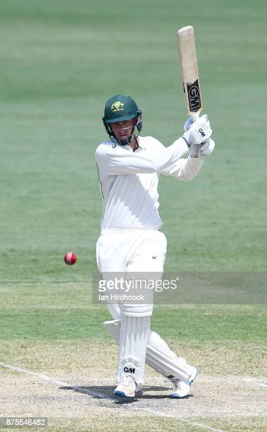 Matt Short of CA XI bats on day 4 of the four day tour match between Cricket Australia XI and England at Tony Ireland Stadium on November 18 2017 in...
