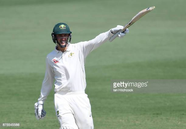Matt Short of CA XI celebrates after reaching a century on day 4 of the four day tour match between Cricket Australia XI and England at Tony Ireland...