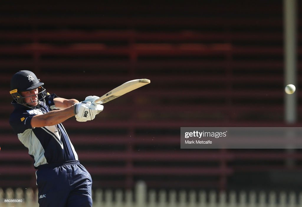 Matt Short of the Bushrangers bats during the JLT One Day Cup match between Victoria and South Australia at North Sydney Oval on October 12, 2017 in Sydney, Australia.