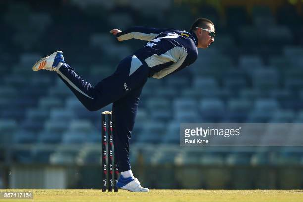 Matt Short of the Bushrangers bowls during the JLT One Day Cup match between Victoria and Tasmania at WACA on October 4 2017 in Perth Australia