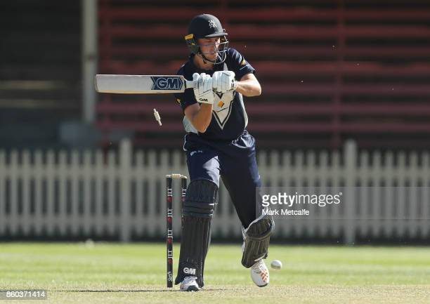 Matt Short of the Bushrangers is bowled by Daniel Worrall of the Redbacks during the JLT One Day Cup match between Victoria and South Australia at...