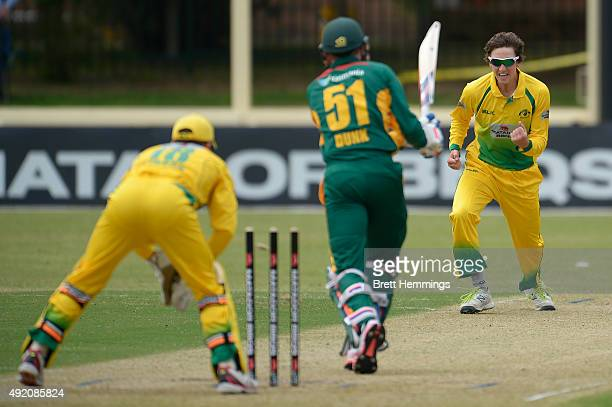 Matt Short of the Cricket Australia XI celebrates after taking the stumping wicket of Ben Dunk of Tasmania during the Matador BBQs One Day Cup match...