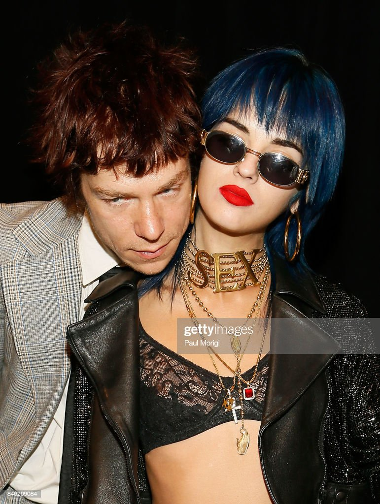 Matt Shultz of Cage The Elephant and Sita Abellan backstage at The Blonds fashion show during New York Fashion Week: The Shows at Gallery 1, Skylight Clarkson Sq on September 12, 2017 in New York City.