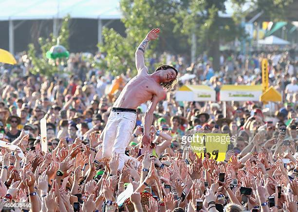 Matt Shultz of Cage the Elephant performs at Which Stage during day 3 of the 2014 Bonnaroo Arts And Music Festival on June 14 2014 in Manchester...