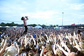 Matt Shultz of Cage the Elephant performs during the 2015 Forecastle Festival at Waterfront Park on July 17 2015 in Louisville Kentucky