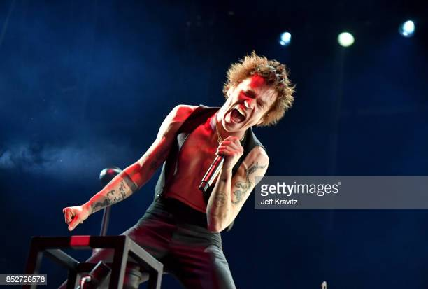 Matt Shultz of Cage The Elephant performs on Downtown Stage during day 2 of the 2017 Life Is Beautiful Festival on September 23 2017 in Las Vegas...