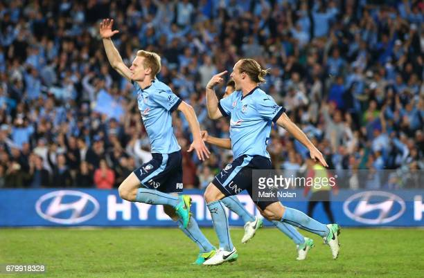 Matt Simon and Rhyan Grant of Sydney FC celebrate winning the 2017 ALeague Grand Final match between Sydney FC and the Melbourne Victory at Allianz...