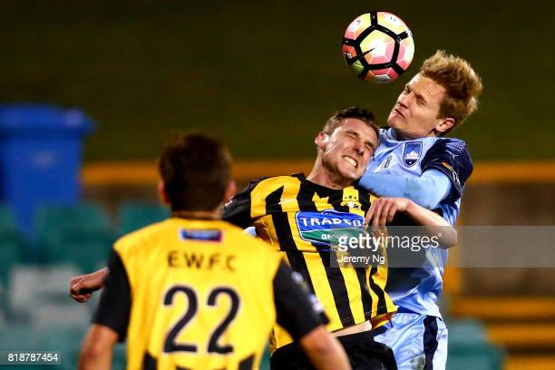Matt Simon of Sydney FC heads the ball during the 2017 Johnny Warren Challenge match between Sydney FC and Earlwood Wanderers at Leichhardt Oval on...