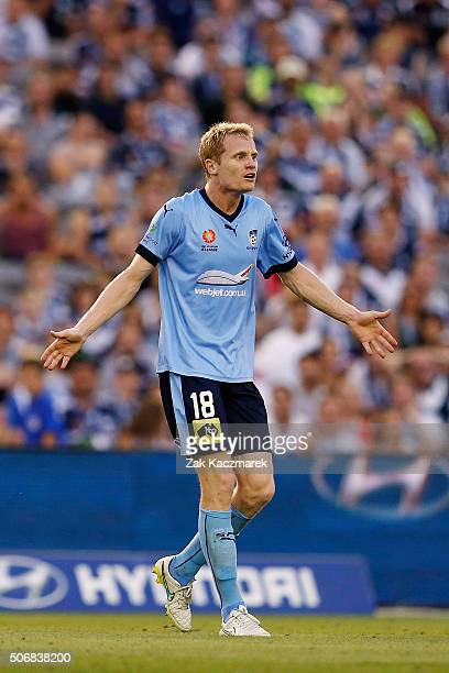 Matt Simon of Sydney FC reactscts during the round 16 ALeague match between Melbourne Victory and Sydney FC at Etihad Stadium on January 26 2016 in...