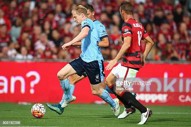Matt Simon of Sydney FC runs the ball towards goal during the round 15 ALeague match between the Western Sydney Wanderers and Sydney United at Pirtek...