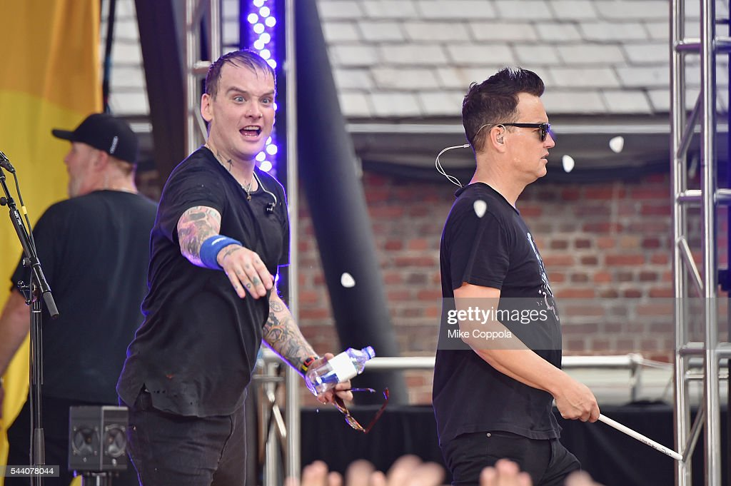Matt Skiba (L) and Mark Hoppus of the band Blink 182 perform on ABC's 'Good Morning America' at SummerStage at Rumsey Playfield, Central Park on July 1, 2016 in New York City.
