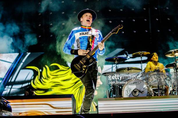 Matt Skiba and Travis Barker of Blink 182 performs at Lollapalooza 2017 at Grant Park on August 4 2017 in Chicago Illinois