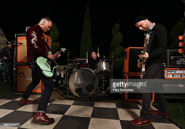 Matt Skiba Derek Grant and Dan Andriano of the Rock Band Alkaline Trio perform live at the 987 FM Penthouse Party Pad at The Historic Hollywood Tower...