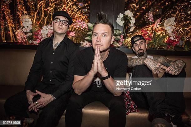 Matt Skiba Mark Hoppus and Travis Barker arrive at Blind Dragon on April 28 2016 in West Hollywood California