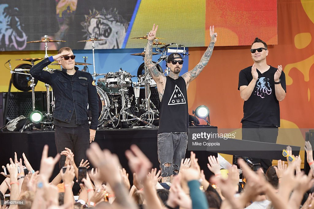 Matt Skiba, Travis Barker, and Mark Hoppus of the band Blink 182 performs on ABC's 'Good Morning America' at SummerStage at Rumsey Playfield, Central Park on July 1, 2016 in New York City.