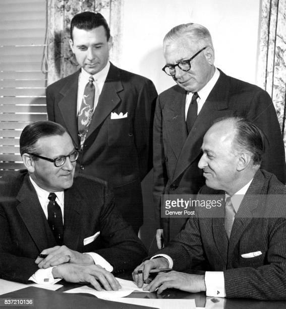 Matt Skorey Denver Packard dealer talks with three StudebakerPackard officials as arrangements are completed making Skorey the Rocky Mountain...