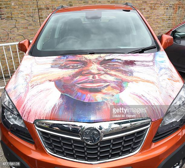 Matt Small bonnet auctioned for charity at the Vauxhall Art Car Boot Fair 2015 on Sunday 14th June 2015 in London England