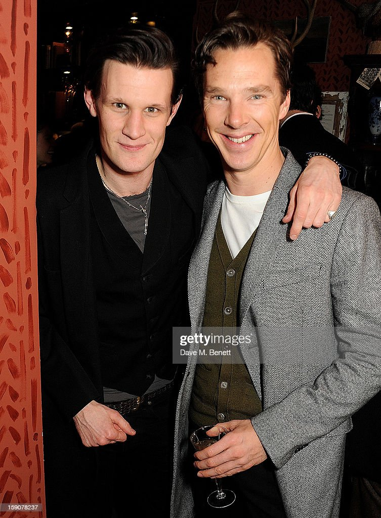 <a gi-track='captionPersonalityLinkClicked' href=/galleries/search?phrase=Matt+Smith+-+Actor&family=editorial&specificpeople=6877373 ng-click='$event.stopPropagation()'>Matt Smith</a> (L) and <a gi-track='captionPersonalityLinkClicked' href=/galleries/search?phrase=Benedict+Cumberbatch&family=editorial&specificpeople=2487879 ng-click='$event.stopPropagation()'>Benedict Cumberbatch</a> attend the Esquire and Tommy Hilfiger party celebrating London Collections: MEN AW13, hosted by Esquire editor Alex Bilmes and Tommy Hilfiger, at the Zetter Townhouse on January 7, 2013 in London, England.