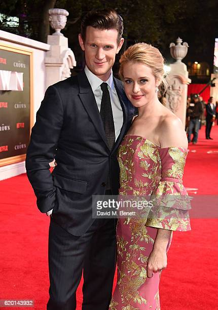 Matt Smith and Claire Foy attend the World Premiere of new Netflix Original series 'The Crown' at Odeon Leicester Square on November 1 2016 in London...