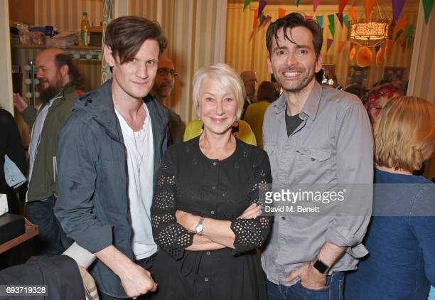 Matt Smith and Dame Helen Mirren pose with cast member David Tennant at the West End production of 'Don Juan In Soho' at Wyndhams Theatre on June 7...