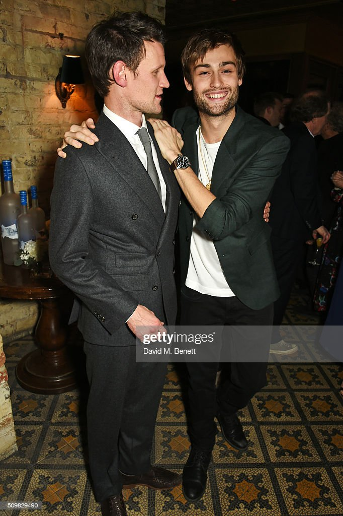 Matt Smith (L) and <a gi-track='captionPersonalityLinkClicked' href=/galleries/search?phrase=Douglas+Booth&family=editorial&specificpeople=6324411 ng-click='$event.stopPropagation()'>Douglas Booth</a> attend Harvey Weinstein's pre-BAFTA dinner in partnership with Burberry and GREY GOOSE at Little House Mayfair on February 12, 2016 in London, England.