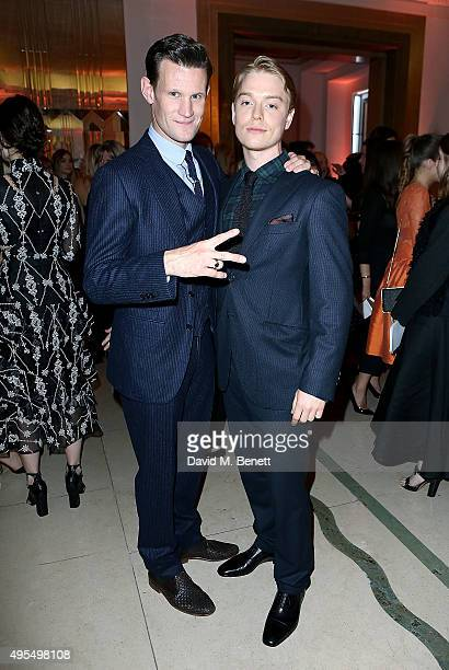 Matt Smith and Freddie Fox attend the Harper's Bazaar Women of the Year Awards 2015 at Claridges Hotel on November 3 2015 in London England
