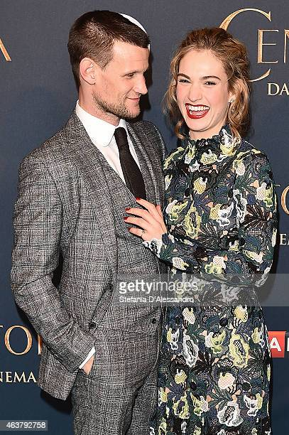 R Matt Smith and Lily James attend 'Cinderella' Screening In Milan held at Cinema Odeon on February 18 2015 in Milan Italy