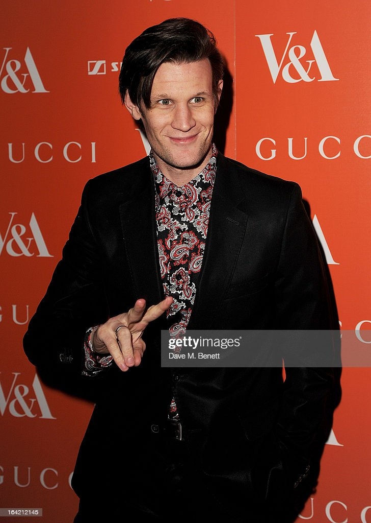 <a gi-track='captionPersonalityLinkClicked' href=/galleries/search?phrase=Matt+Smith+-+Sk%C3%A5despelare&family=editorial&specificpeople=6877373 ng-click='$event.stopPropagation()'>Matt Smith</a> attends the private view for the 'David Bowie Is' exhibition in partnership with Gucci and Sennheiser at the Victoria and Albert Museum on March 20, 2013 in London, England.