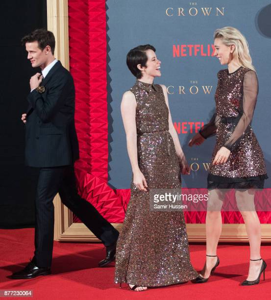 Matt Smith Claire Foy and Vanessa Kirby attends the World Premiere of season 2 of Netflix 'The Crown' at Odeon Leicester Square on November 21 2017...