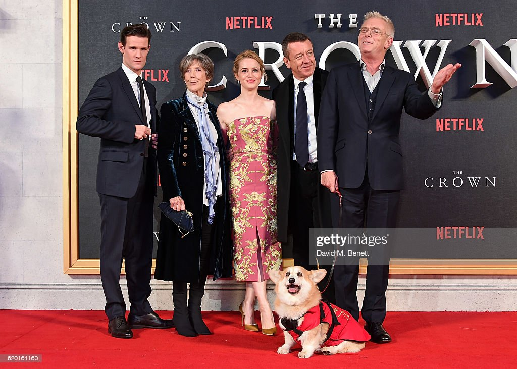 Matt Smith, Dame Eileen Atkins, Claire Foy, Peter Morgan and Stephen Daldry attend the World Premiere of new Netflix Original series 'The Crown' at Odeon Leicester Square on November 1, 2016 in London, England.