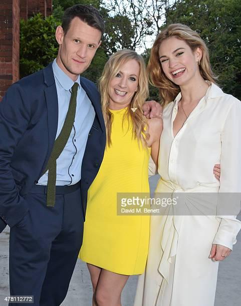 Matt Smith Joanne Froggatt and Lily James attend The Ralph Lauren Vogue Wimbledon Summer Cocktail Party hosted by Alexandra Shulman and Boris Becker...