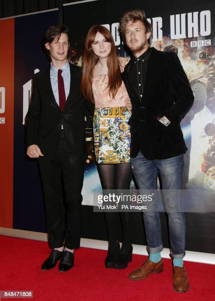Matt Smith Karen Gillan and Arthur Darvill during a photocall for a screening of the episode Doctor Who Asylum of the Daleks at BFI London South Bank...