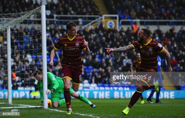 Matt Smith of QPR celebrates his sides first goal during the Sky Bet Championship match between Birmingham City and Queens Park Rangers at St Andrews...