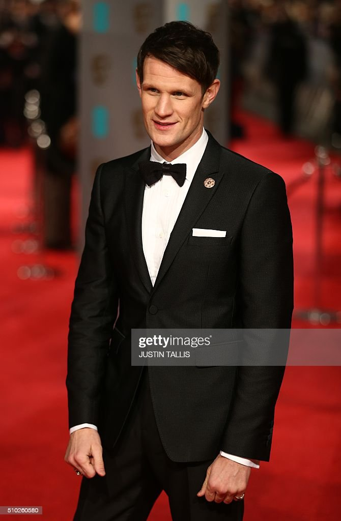 Matt Smith poses on arrival for the BAFTA British Academy Film Awards at the Royal Opera House in London on February 14, 2016. TALLIS