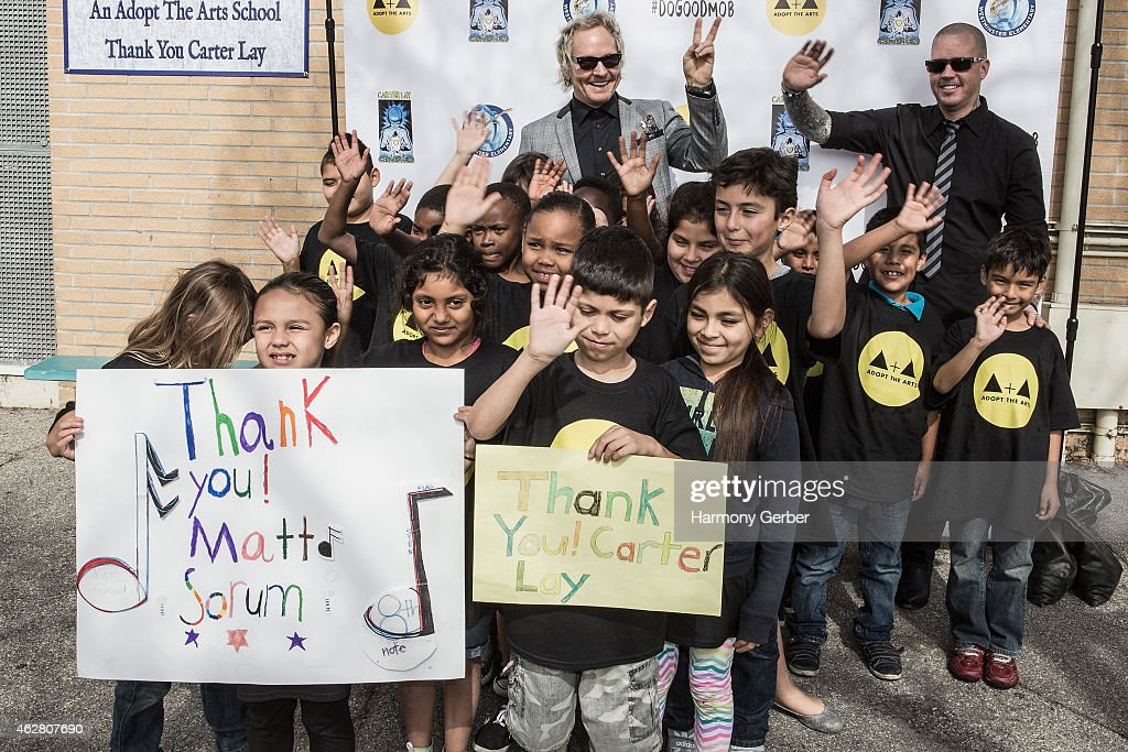Matt Sorum and Carter Lay attend the Adopt the Arts Ribbon-Cutting Ceremony at Westminster Elementary School on February 5, 2015 in Venice, California.