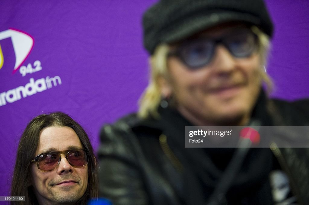 Matt Sorum and Myles Kennedy at the Jacaranda FM studios on June 12, 2013, in Johannesburg, South Africa. Kings of Chaos performed in Cape Town on June 8, 2013 and are set to perform in Johannesburg on June 15 and 16, 2013.