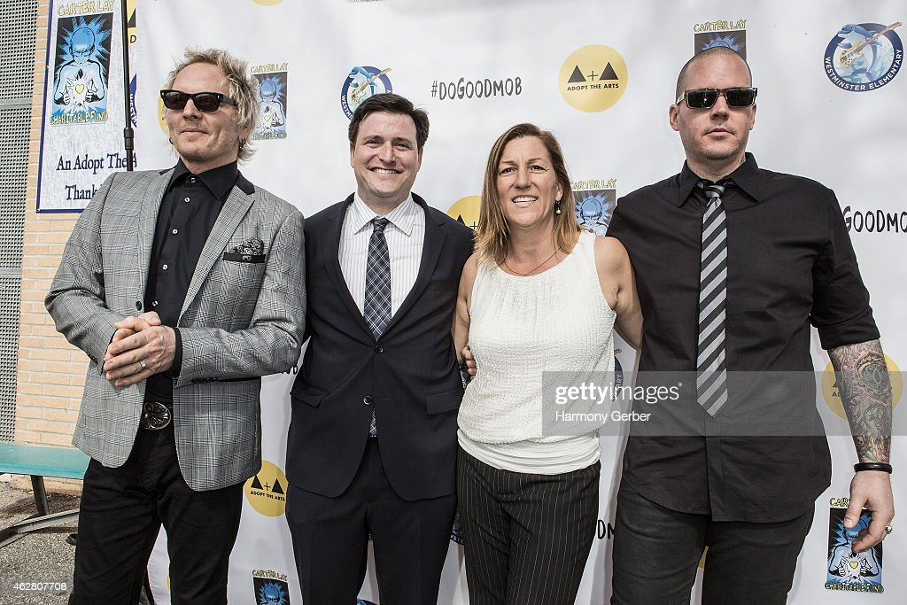 Matt Sorum, Barry Cohen, Abby Berman and Carter Lay attend the Adopt the Arts Ribbon-Cutting Ceremony at Westminster Elementary School on February 5, 2015 in Venice, California.