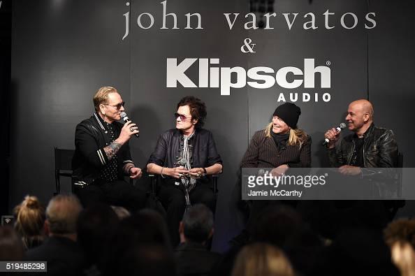 Matt Sorum Glen Hughes Robin Zander and John Varvatos speak on stage at an intimate inductee conversation hosted By John Varvatos presented by...