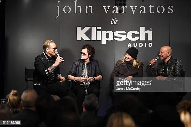 Matt Sorum Glen Hughes Robin Zander and John Varvatos speak on stage at an intimate inductee conversation hosted By John Varvatos presented by...