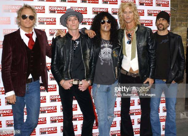 Matt Sorum Scott Weiland Slash Duff McKagan and Dave Kushner of US group Velvet Revolver arrive for the 11th annual Kerrang Awards at The Brewery in...