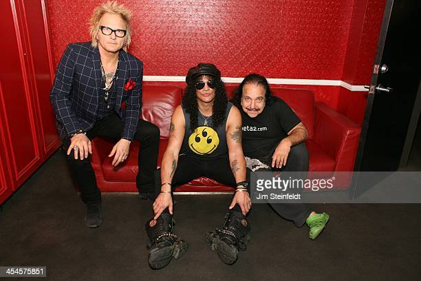 Matt Sorum Slash and Ron Jeremy backstage at the Kings of Chaos benefit concert for Ric O'Barry's Dolphin Project at the Avalon in Hollywood...