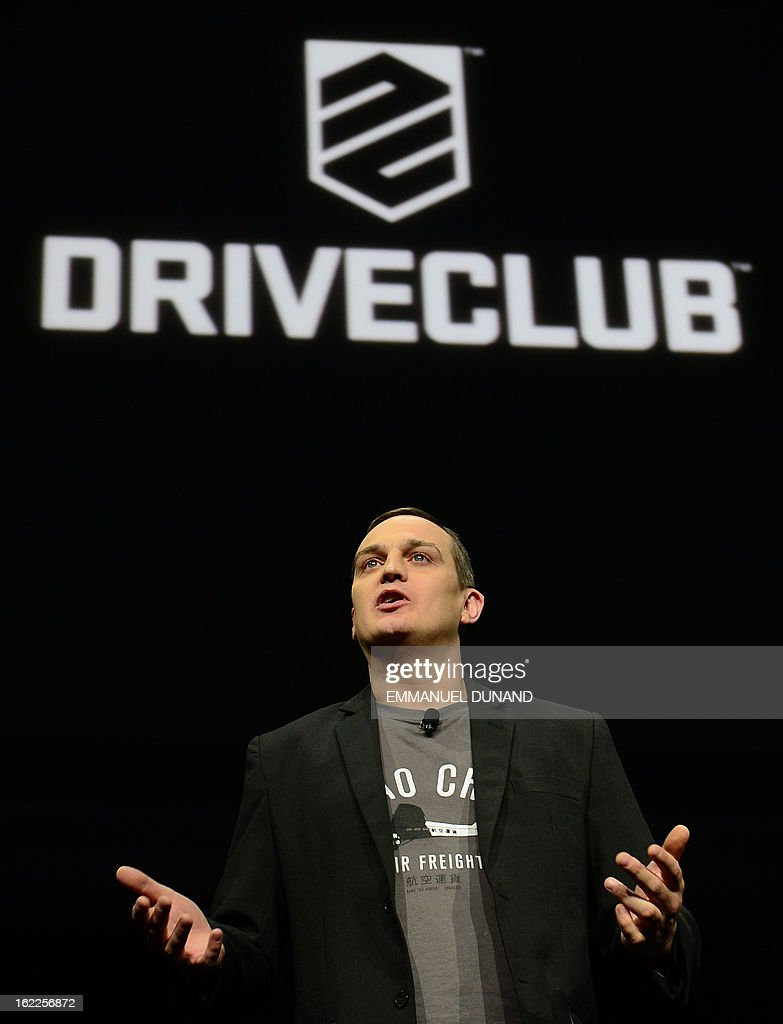Matt Southern, Sony's Evolution Studio head introduces DriveClub, a new social driving game, as Sony introduces the PlayStation 4 at a news conference February 20, 2013 in New York.