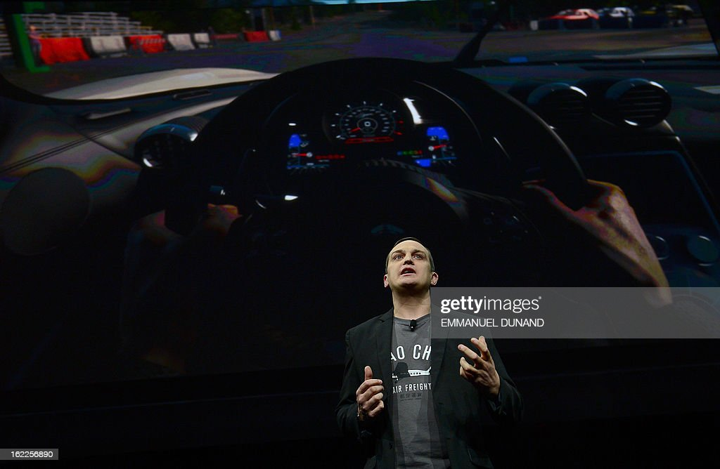 Matt Southern, Sony's Evolution Studio head introduces DriveClub, a new social driving game, as Sony introduces the PlayStation 4 at a news conference February 20, 2013 in New York. AFP PHOTO/EMMANUEL DUNAND