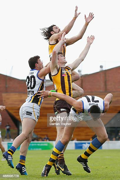 Matt Spangher of Box Hill marks the ball during the VFL Preliminary Final match between Box Hill Hawks and Sandringham at North Port Oval on...