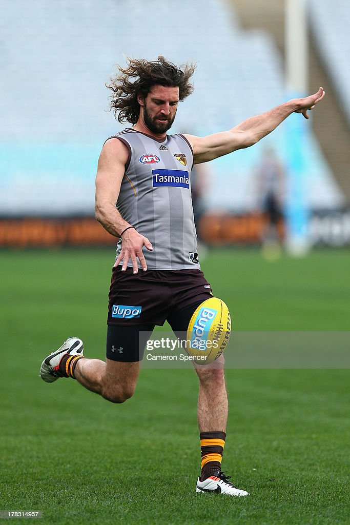 Matt Spangher of the Hawks kicks during a Hawthorn Hawks AFL training session at ANZ Stadium on August 29, 2013 in Sydney, Australia.