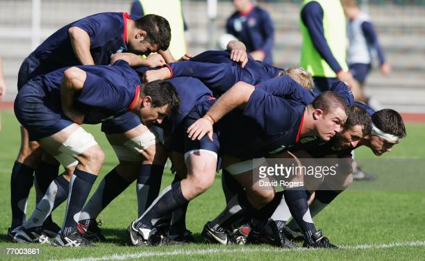 Matt Stevens of England is pictured with Martin Corry of England in the scrum during an England training session at Stade Montbauron on September 25...