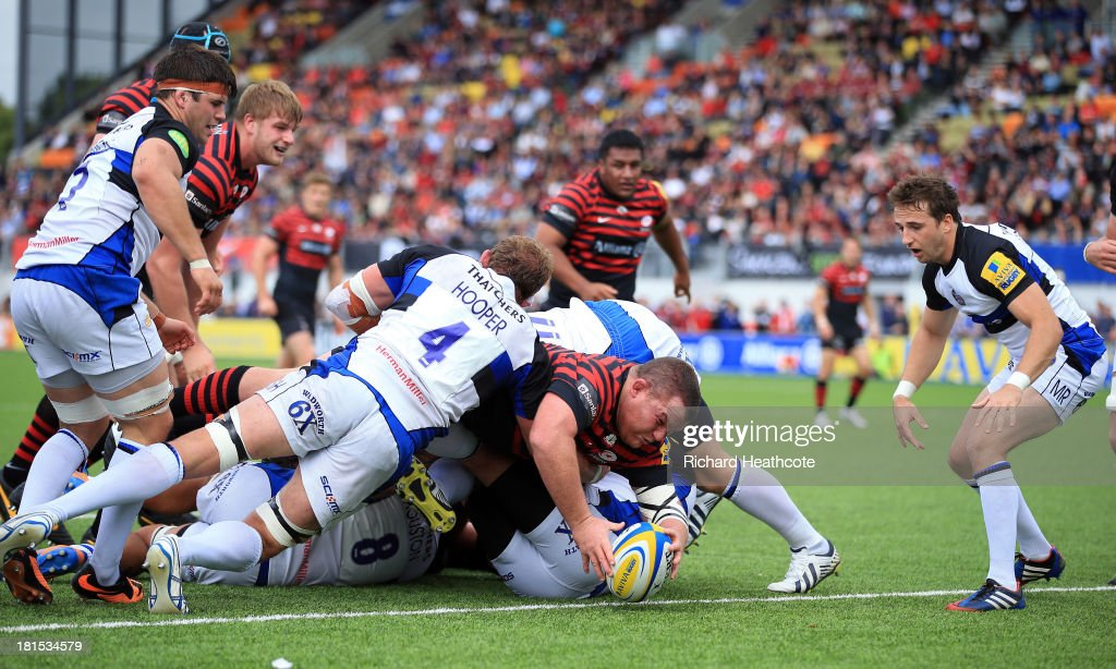<a gi-track='captionPersonalityLinkClicked' href=/galleries/search?phrase=Matt+Stevens&family=editorial&specificpeople=209047 ng-click='$event.stopPropagation()'>Matt Stevens</a> of Saracens dives over to score a try during the Aviva Premiership Rugby match between Saracens and Bath at the Allianz Park on September 22, 2013 in Barnet, England.