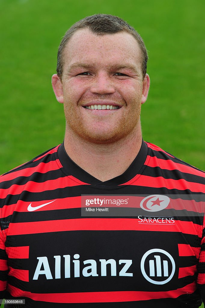 <a gi-track='captionPersonalityLinkClicked' href=/galleries/search?phrase=Matt+Stevens&family=editorial&specificpeople=209047 ng-click='$event.stopPropagation()'>Matt Stevens</a> of Saracens poses for a portrait during a Saracens photocall at the Saracens Training Centre on August 21, 2012 in St Albans, England.