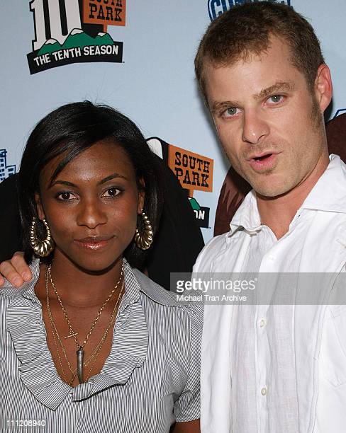 Matt Stone and Angela Howard during Comedy Central Celebrate 10 Seasons of 'South Park' Arrivals and Inside at The Lot in Los Angeles California...