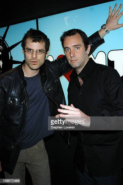 Matt Stone and Trey Parker during Trey Parker Matt Stone and Christina Milian Visit MTV's 'TRL' October 13 2004 at MTV Studios Times Square in New...